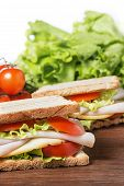picture of nic  - Sandwiches with chicken breast salad cheese and tomatoes - JPG
