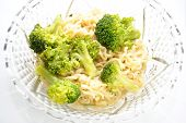 foto of glass noodles  - Vegetarian Ramen Noodle Dinner with Broccoli in a Fancy Glass Bowl - JPG