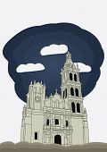Monterrey, Nuevo Leon, Mexico Cathedral baroque style. vector illustration