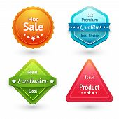 stock photo of high-quality  - Collection of sale labels stickers or tags for best price high quality and exclusive deal isolated vector illustration - JPG