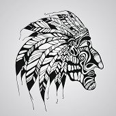 foto of indian chief  - Vector hand drawn Tattoo Native American Indian chief - JPG