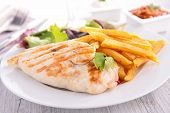 stock photo of  breasts  - grilled chicken breast and fries - JPG