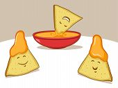 picture of nachos  - Tortilla chip illustration with nacho cheese dip - JPG