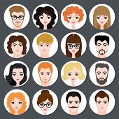 stock photo of avatar  - Set of stylish avatars of girls and guys in flat design - JPG