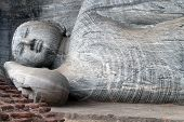 stock photo of polonnaruwa  - Big sleeping Buddha in Gal Vihara in Polonnaruwa Sri Lanka - JPG