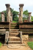 picture of polonnaruwa  - Staircse with moonstone and ruins of palace Nissanka Mala in Polonnaruwa Sri Lanka - JPG