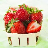 fresh strawberries in a basket.