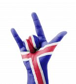 Hand Making I Love You Sign, Iceland Flag Painted, Multi Purpose Concept - Isolated On White Backgro