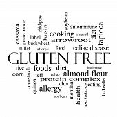 Gluten Free Word Cloud Concept In Black And White