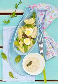 image of sorrel  - spring potato salad with sorrel green pea and eggs - JPG