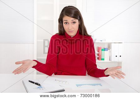 Businesswoman with problems  at work in the office