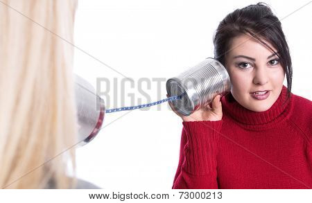 Two woman on phone: advantages and disadvantages - isolated on white