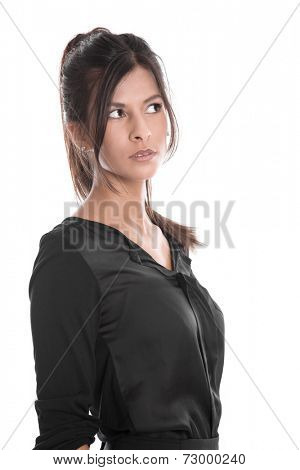 Portrait of pretty woman in black unsure and thinking isolated on white background - from the side