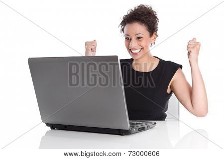 Perfect day - happy young business woman - sitting in the office - Stock Photo