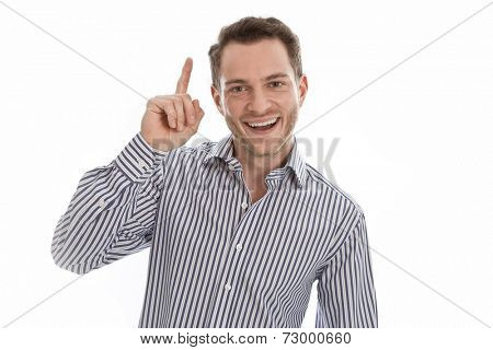 Man pointing a great idea Man pointing a great idea - Stock Photo