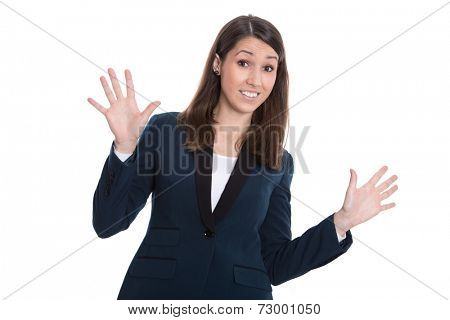 Skeptical business woman hands up - isolated on White.