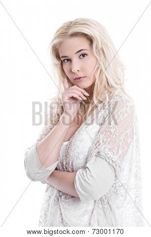 Isolated young pretty business woman thinking with white background