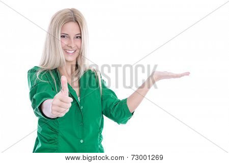 Attractive smiling business woman presenting with thumbs up - Isolated over white background