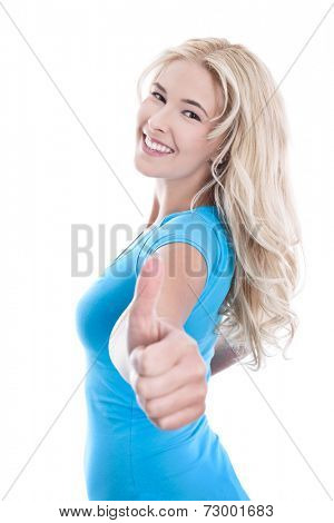 Woman showing all right with thumbs up