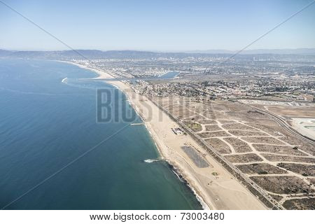 Dockweiler beach aerial in the City of Los Angeles.