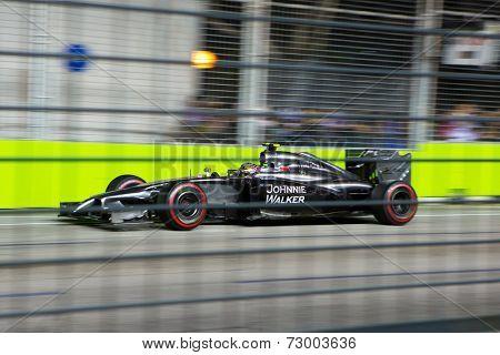 SINGAPORE - SEPTEMBER 20.  Kevin Magmussen, Denmark, Mclaren Mercedes. Formula One World Championship, Rd14, Singapore Grand Prix, Marina Bay Street Circuit, Singapore, 20 September 2014