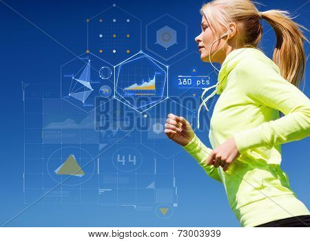 sport, training, technology and lifestyle concept - young woman running outdoors