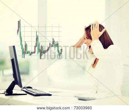 business, office, problem, money and stress concept - stressed businesswoman with computer at work