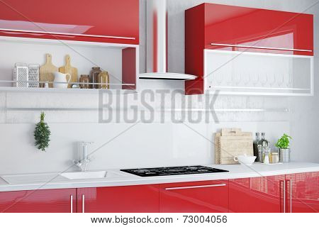 Interior of clean kitchen with modern red kitchenette