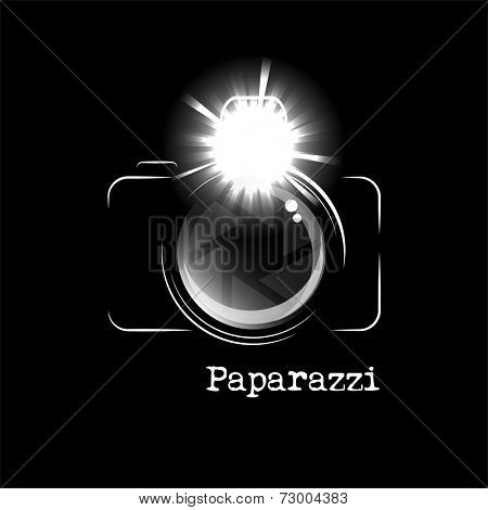 Minimalistic camera icon, with bright flash and the word Paparazzi, isolated over black background.