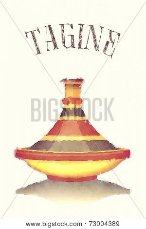 Watercolour illustration of a colourful striped tagine, isolated over pastel background.