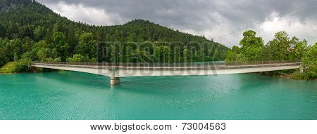 Panorama of Lech river in Bavarian Alps, Germany