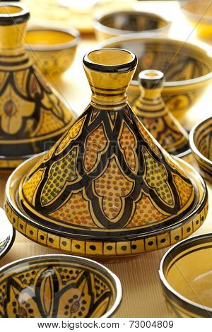 Moroccan ceramic tagines on the market