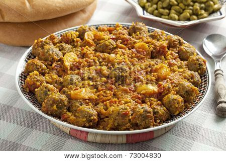 Moroccan dish with kefta sardines and broad beans