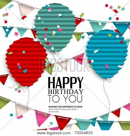 Birthday wish with bunting flags and balloons in the style of flat folded paper.