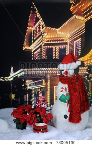 A nighttime image of a red-nosed snowman with a scarf and Santa hat before a brightly lit festive home, with two poinsettia plants in the snow by his side.