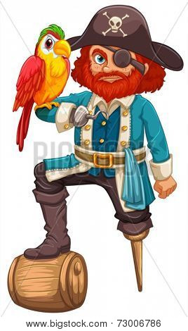 Illustration of a pirate and a parrot