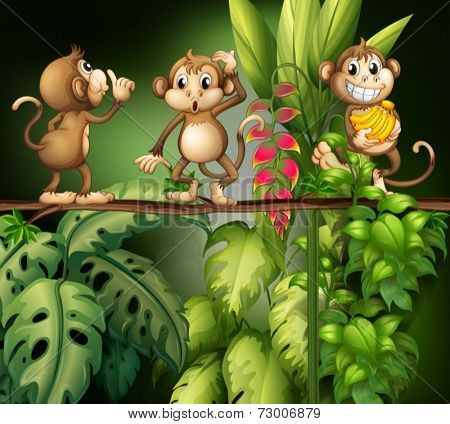 Illustration of monkeys in the jungle