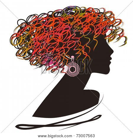 art sketched beautiful girl face with curly hair and bijou in profile in color and black graphic on white background
