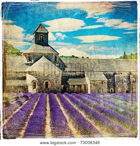 lavander feelds and abbey - picture in retro style