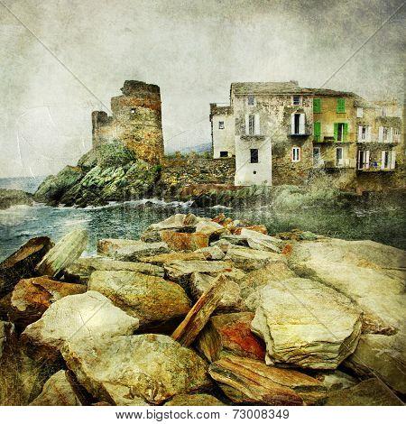 medieval village in Corsica - Erbalunga, artistic retro picture