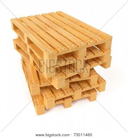 Wooden pallets in pile. 3d rendered illustration. Isolated on white background. Clipping path included
