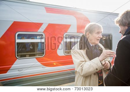 MOSCOW, RUSSIA, SEPTEMBER, 23: Train VGIK 95 (Gerasimov Institute of Cinematography) Tour. September, 23, 2014 at Yaroslavsky railway station in Moscow, Russia
