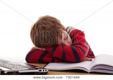 Cute Boy On The Desk Asleep While Studying