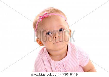 Adorable little infant girl on white background