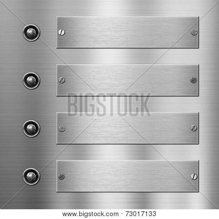 four metal plates with buttons over metallic background