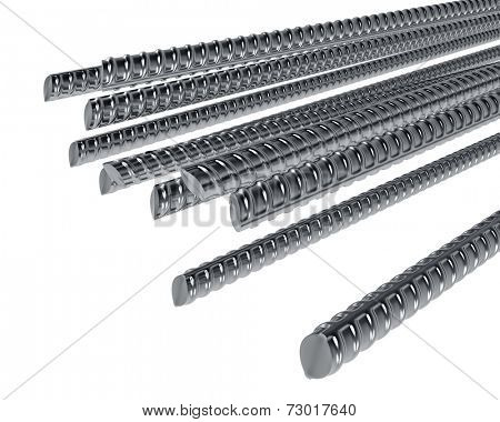 Steel reinforcement rods isolated on white background.