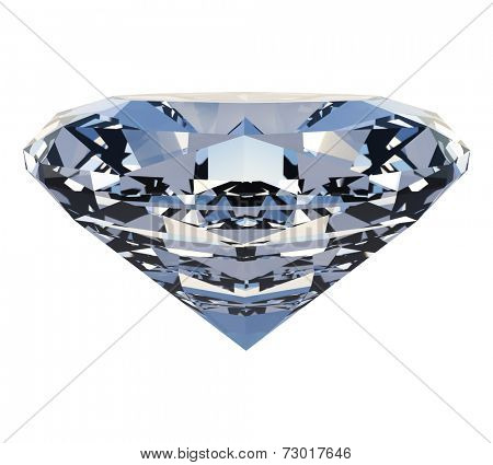 Polished diamond isolated on white background.