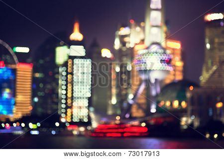 bokeh, Shanghai at night, China