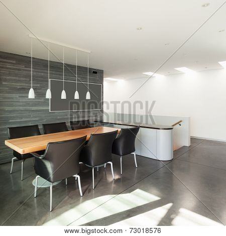 Interior, beautiful modern apartment, wide dining room