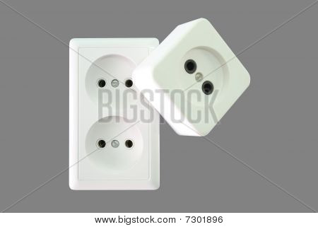 Electrical sockets on a grey background